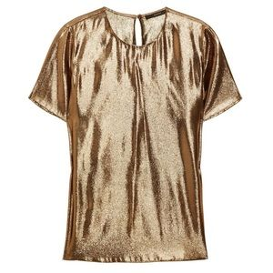Gucci bronze & gold silk blend lamé t-shirt, sz 40
